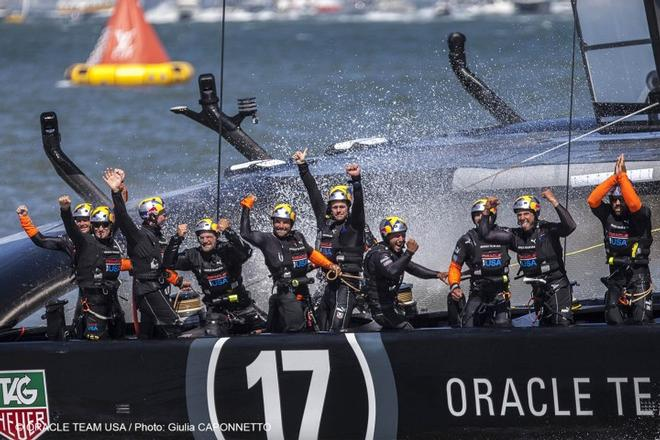 Oracle Team USA celebrates © Guilain Grenier Oracle Team USA http://www.oracleteamusamedia.com/