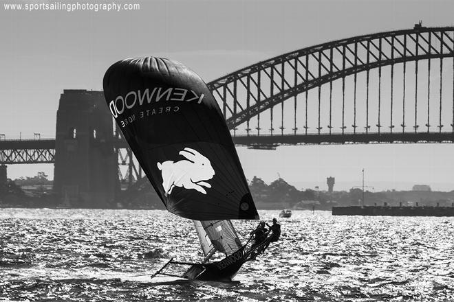 Rabbitohs-kenwood spinnaker action in high wind. © Beth Morley - Sport Sailing Photography http://www.sportsailingphotography.com