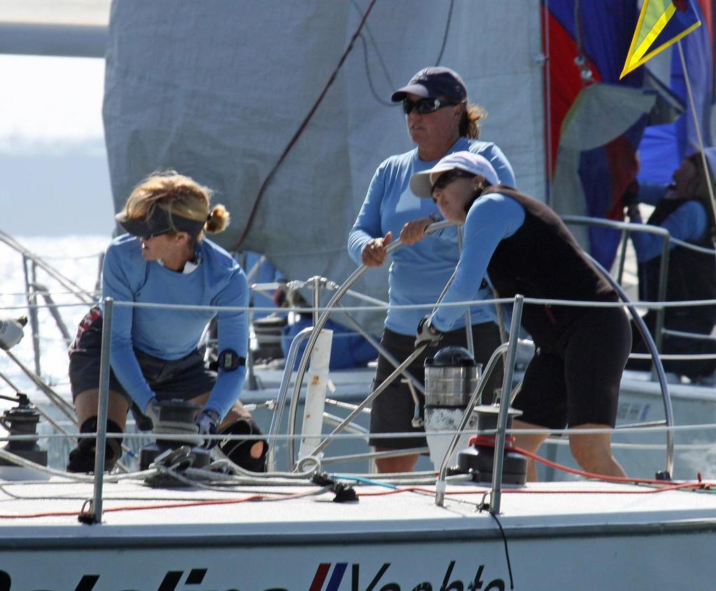 Shala Lawrence and her San Diego Yacht Club team took second place honors on a tiebreaker in the 2013 Linda Elias Women's One-Design Challenge. © Rick Roberts