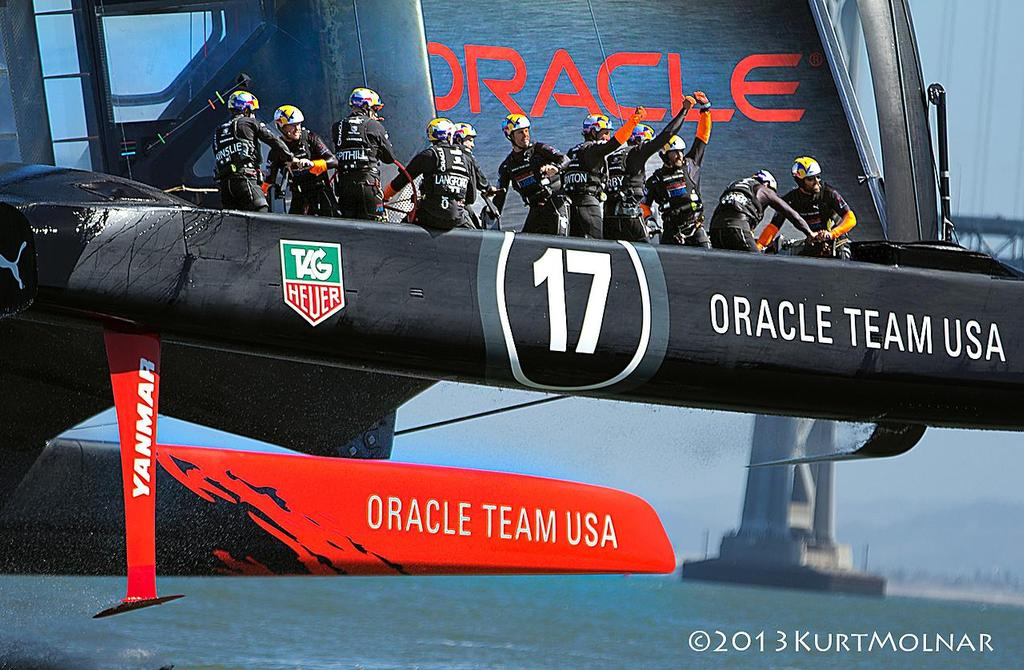 Oracle Crew Finish - America's Cup - Day 14 © Kurt Molnar
