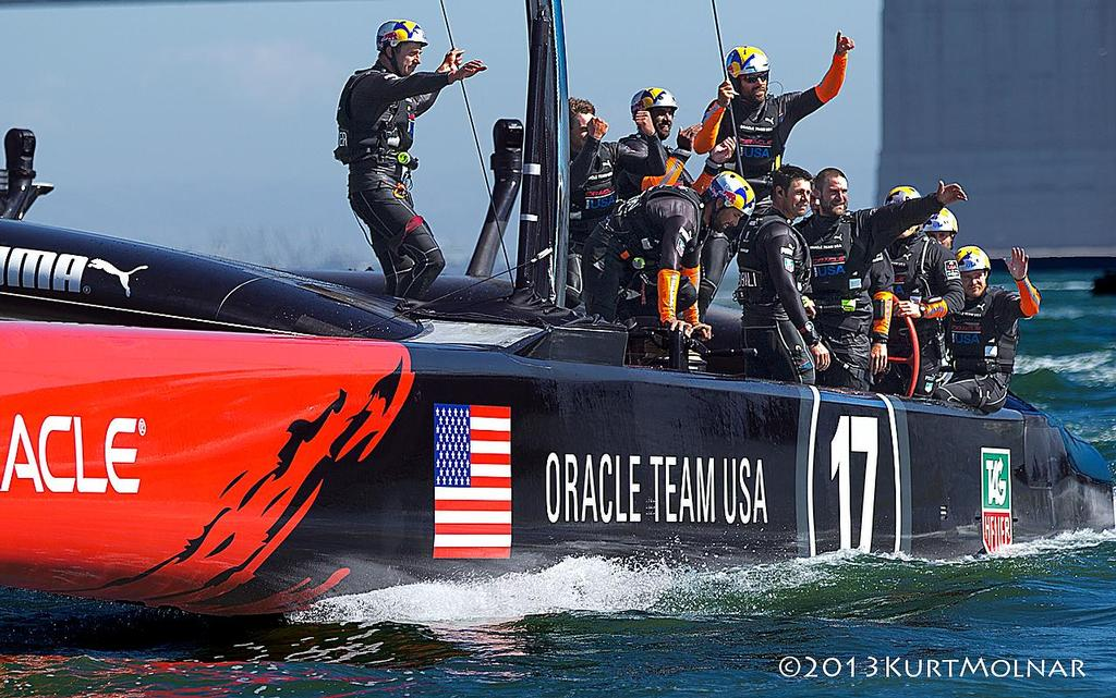 Oracle Crew Wave - America's Cup - Day 14 © Kurt Molnar