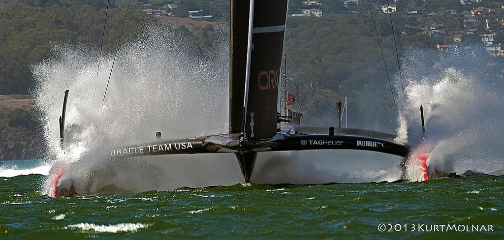 Oracle Race Start Bows America's Cup - Day 14 © Kurt Molnar