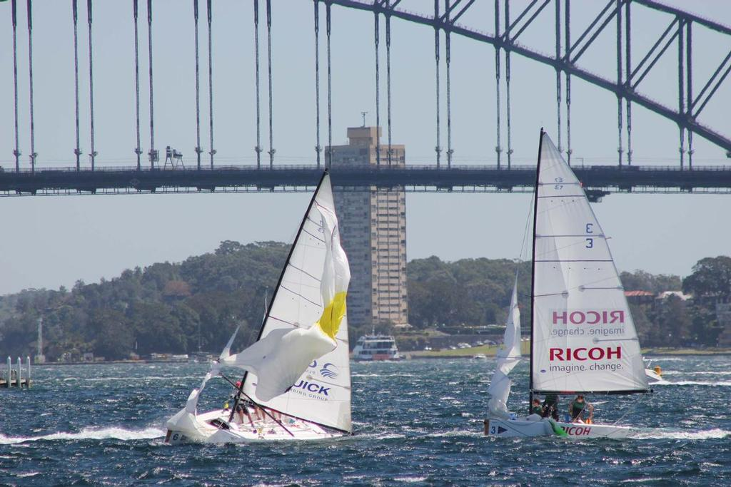 Spinnaker issues caused Gilmour to drop his match against Parker.  © CYCA Staff .