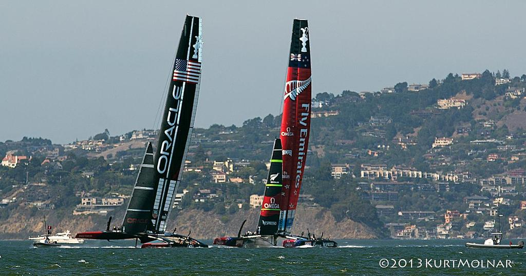 USA NZ Pre Start  - America's Cup - Day 14 photo copyright Kurt Molnar taken at  and featuring the  class