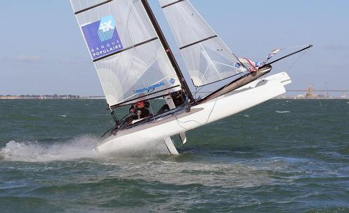 Nacra 17 Belly Besson - riding the horse at the bottom mark - La Semaine Olympique Française de Voile 2013 © Sail-World.com http://www.sail-world.com