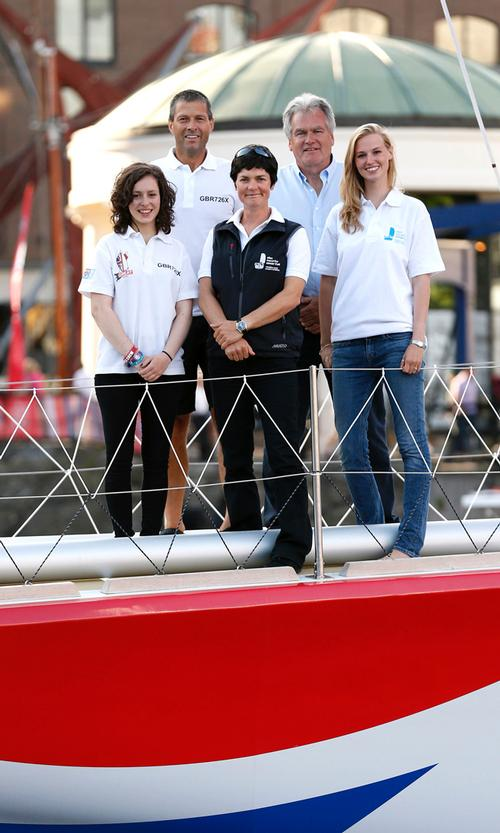 (Left to right) EMCT ambassador Kristie Reid, skipper of GREAT Britain Simon Talbot, Dame Ellen MacArthur, Malcolm Dunderdale and EMCT ambassador Lucie Carrington ©  Jonathan Brady / PA Wire http://www.pressassociation.com/