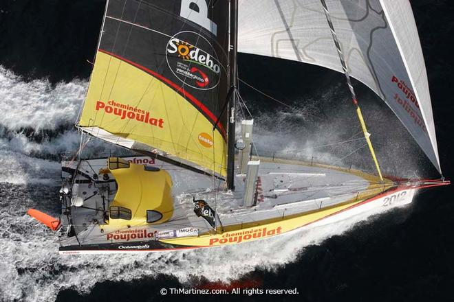 2012/13 Vendee Globe -  Solo round the world sailing race non stop without assistance (24840 NM). Arrival  of Bernard Stamm (SUI)
