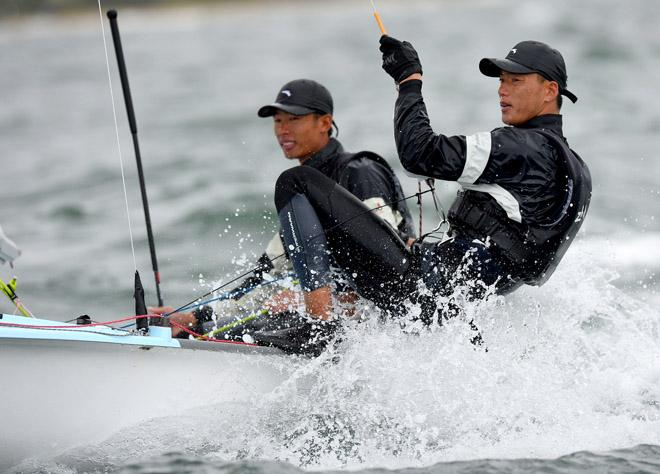 470 Men / Hao LAN & Chao WANG (CHN) - 2013 ISAF Sailing World Cup - Melbourne © Jeff Crow/ Sport the Library http://www.sportlibrary.com.au