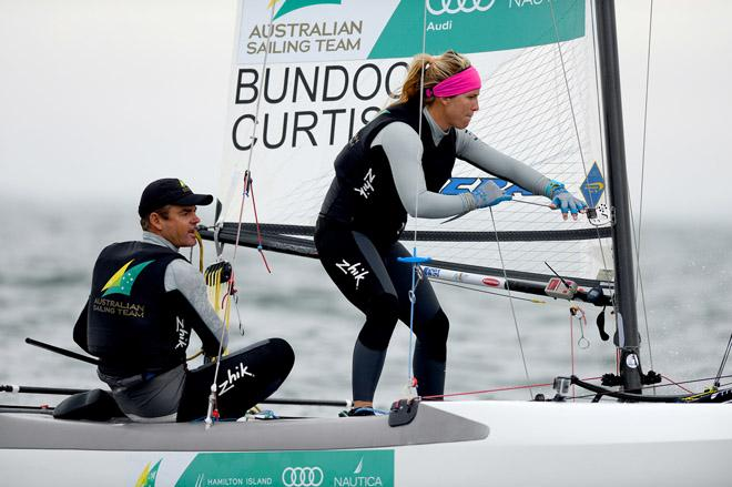 Nacra17 /Darren BUNDOCK & Nina CURTIS (AUS) - 2013 ISAF Sailing World Cup - Melbourne © Jeff Crow/ Sport the Library http://www.sportlibrary.com.au