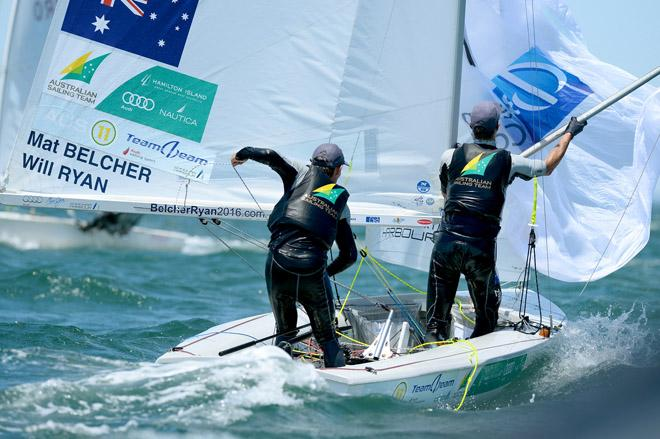 470 mens/ Mathew BELCHER & Will RYAN  (AUS) - 2013 ISAF Sailing World Cup - Melbourne © Jeff Crow/ Sport the Library http://www.sportlibrary.com.au