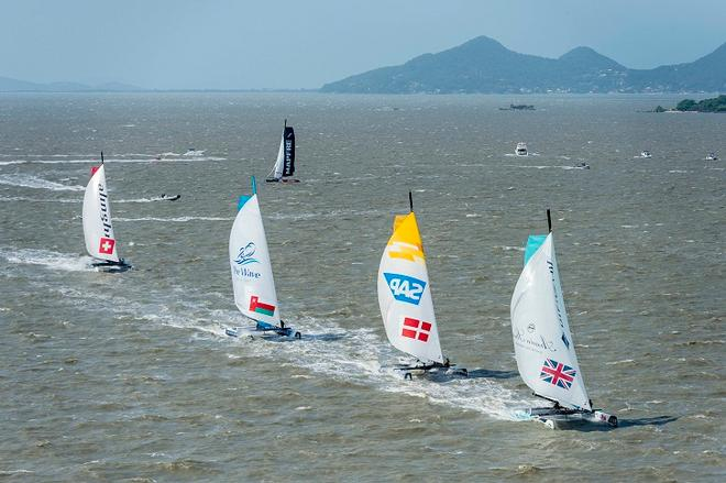 GAC Pindar lead the fleet downwind in the final race of day two ©  Vincent Curutchet / Dark Frame http://www.extremesailingseries.com/