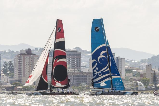 The Wave Muscat on the lead in the Extreme Sailing Series Act 8 in Florianopolis  Brazil ©  Vincent Curutchet / Lloyd images / OC http://www.lloydimages.com/