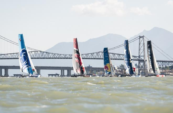 Extreme Sailing Series racing fleet Act 8 - Florianopolis  Brazil ©  Vincent Curutchet / Lloyd images / OC http://www.lloydimages.com/