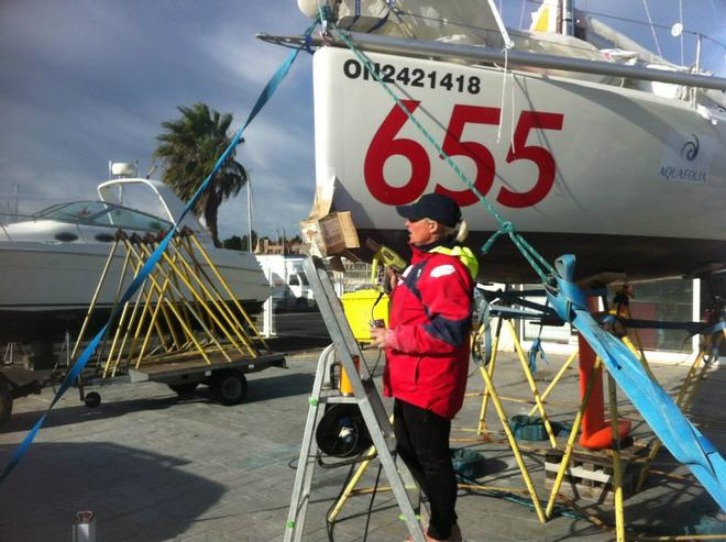 Diane Reid completes repairs on the bobstay attachment point in Cascais, Portugal © Mini Transat http://www.minitransat.fr/