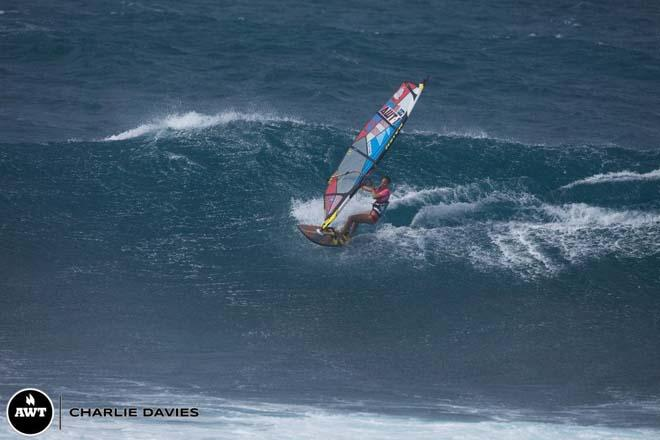 Sam Bittner took some of the biggest waves out there today ©  Charlie Davies / AWT http://americanwindsurfingtour.com/