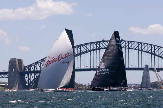 SAILING - SOLAS Big Boat Challenge 2013 - Cruising Yacht Club of Australia, Sydney - 10/12/2013<br /> WILD OATS IX (WHITE SPINNAKER) AND LOYAL &copy; Andrea Francolini
