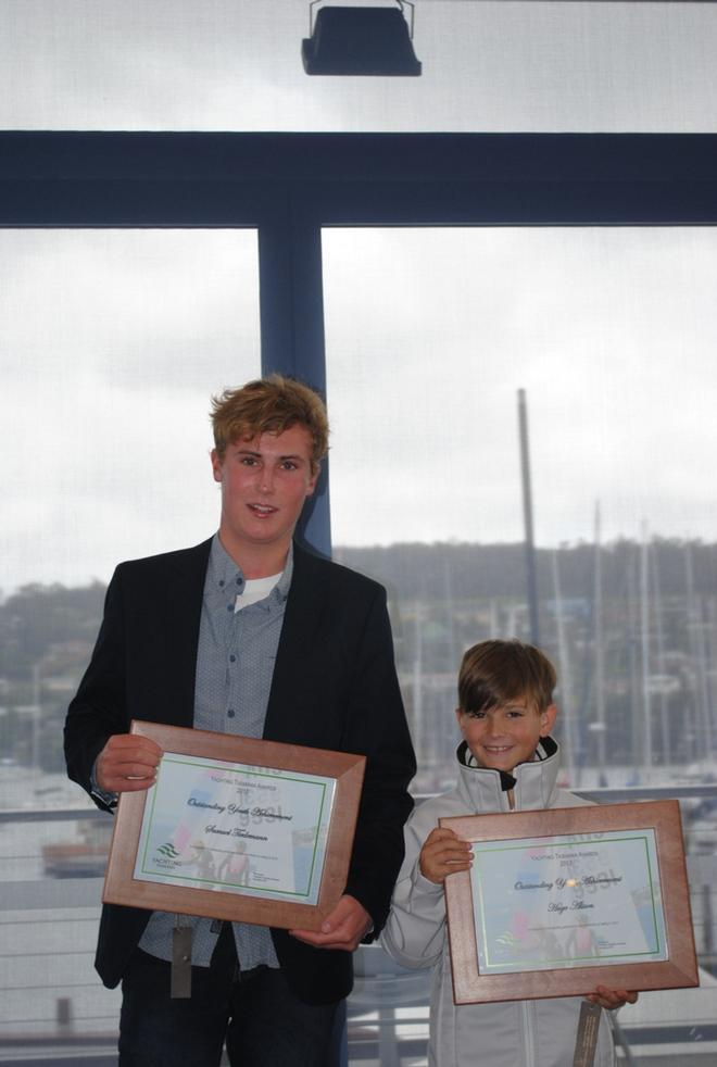 Youth Achievement award winners Sam Tiedemann (17) and Hugo Allison (8) who last year won the Australian championship in the International Cadet class © Peter Campbell