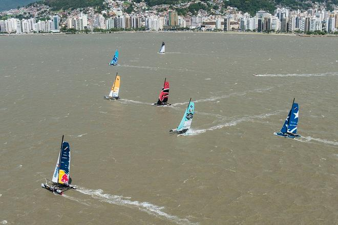 The fleet race against the city backdrop of Florianopolis, a new stadium racecourse for 2013 ©  Vincent Curutchet / Dark Frame http://www.extremesailingseries.com/
