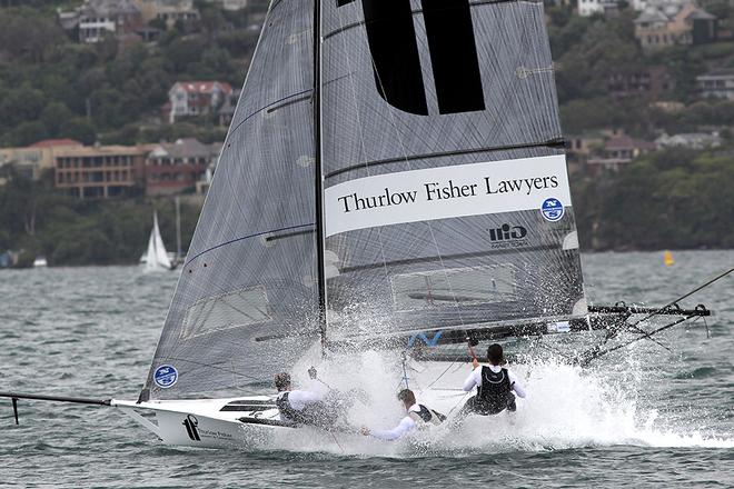 Thurlow Fisher Lawyers is always near the lead - 18ft Skiffs NSW Championship 2013 © Frank Quealey /Australian 18 Footers League http://www.18footers.com.au
