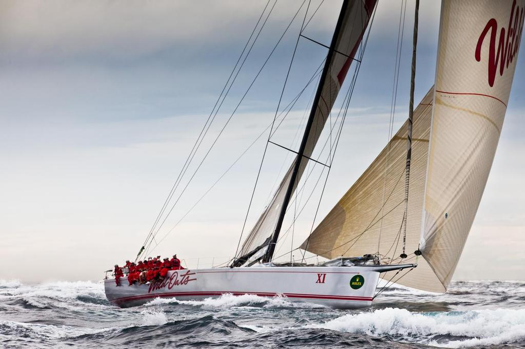 Heading for Hobart: Rolex Sydney Hobart Race record holder, Wild Oats XI, powers her way south in the Rolex Sydney Hobart race. (Credit: Rolex/Daniel Forster) - Wild Oats XI ©  Rolex/Daniel Forster http://www.regattanews.com