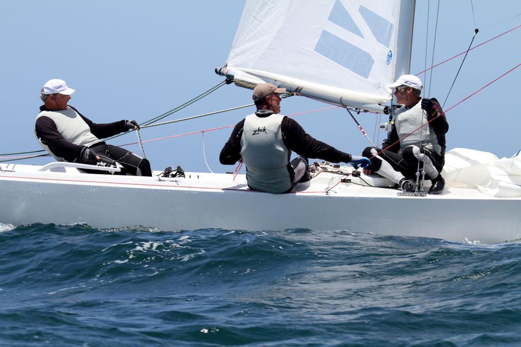 Etchells National Championship 2013, let's go downhill in race one as Triad chases Iris III. © Michael Jennings