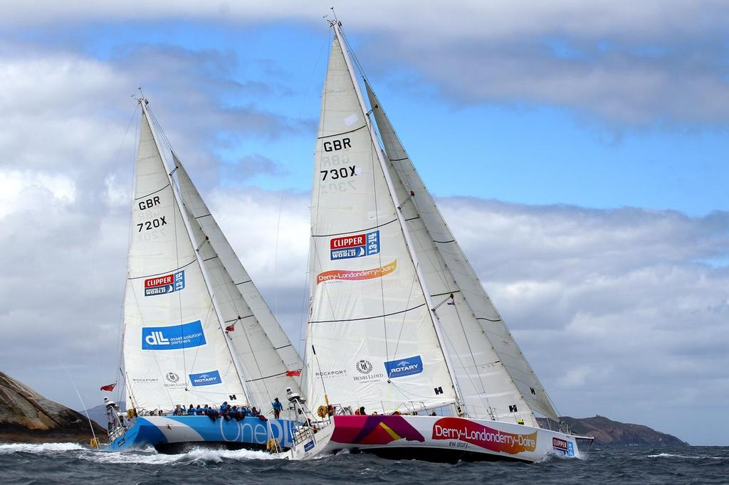 Teams One DLL and Derry-Londonderry-Daire of the Clipper Round the World Yacht Race during the start of race 5  © Clipper 13-14 Round the World Yacht Race