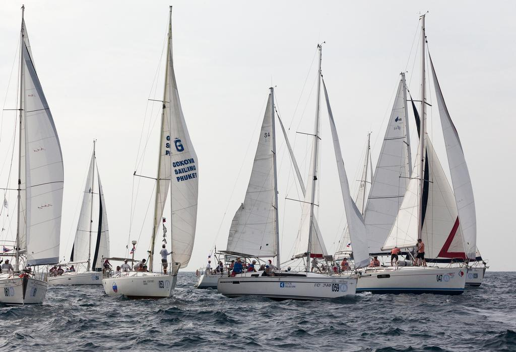 Phuket King's Cup 2013. Charter classes start all together. photo copyright Guy Nowell taken at  and featuring the  class