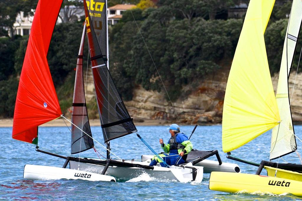 Sail-World's NZ Editor, Richard Gladwell, single handed racing in Wetas off Takapuna Beach © Rebecca Hayter http://www.stuff.co.nz/sport/boating/