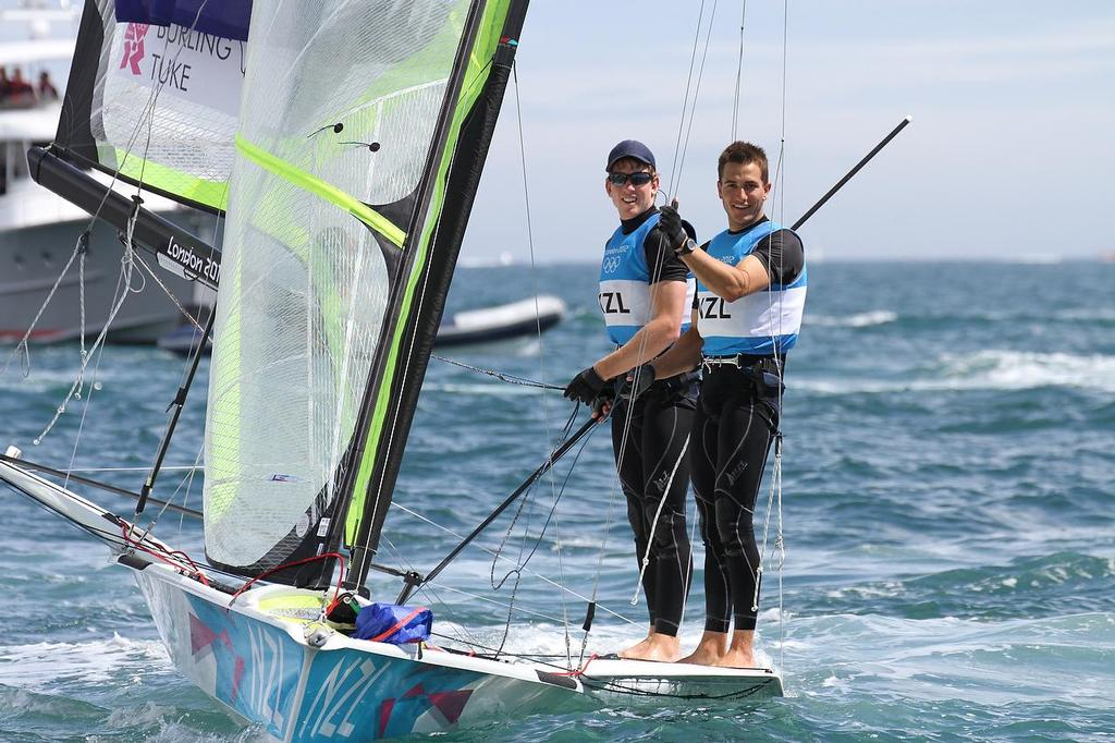 Peter Burling (left) and Blair Tuke after winning their Silver Medal at the 2012 Olympics, Weymouth. As ETNZ members, they could have been caught under the previous Protocol version on competing in non-AC events © Richard Gladwell www.photosport.co.nz