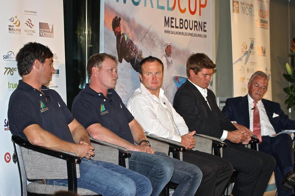 ISAF Sailing World Cup, Melbourne  America's Cup panel - from left Iain Jensen, Nathan Outteridge (both Artemis), Glenn Ashby (ETNZ), Tom Slingsby (OTUSA) and moderator Andrew Plympton © Richard Gladwell www.photosport.co.nz