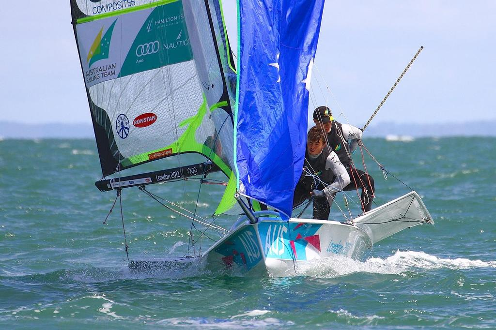 ISAF Sailing World Cup, Melbourne Day 5 Outteridge and Jensen (49er) © Richard Gladwell www.photosport.co.nz