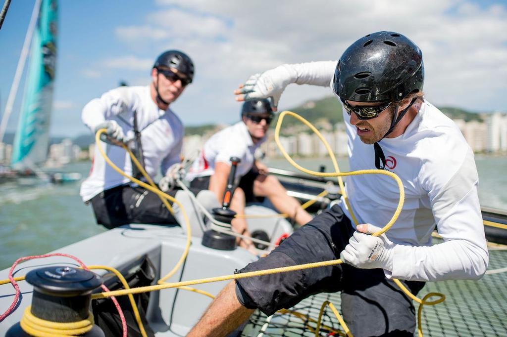 Onboard with Alinghi during the final day of 2013 as the team push their Extreme 40 hard around the track<br />  &copy;  Vincent Curutchet / Dark Frame http://www.extremesailingseries.com/
