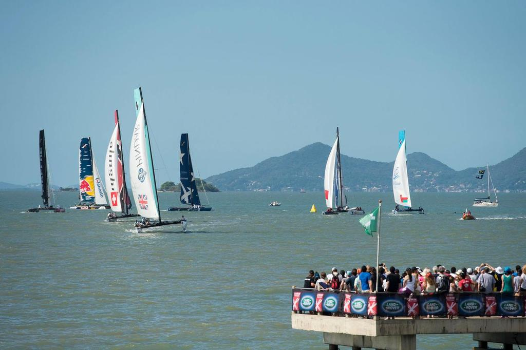 The Extreme 40 fleet race close to shore on the final day of racing in Florianópolis, Brazil. ©  Vincent Curutchet / Dark Frame http://www.extremesailingseries.com/