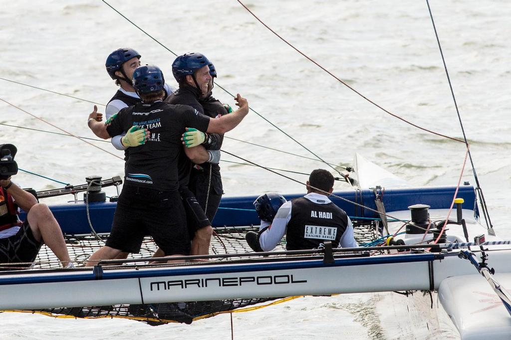 The Wave, Muscat celebrate their 2013 Series championship win in the Florianópolis stadium. ©  Vincent Curutchet / Dark Frame http://www.extremesailingseries.com/