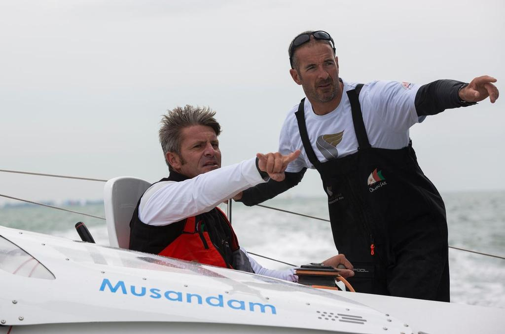 The MOD70 Oman Air Musandam, skippered by Sidney Gavignet (FRA), training. Pictured with Neal McDonald (IRL)<br />  &copy; Lloyd Images