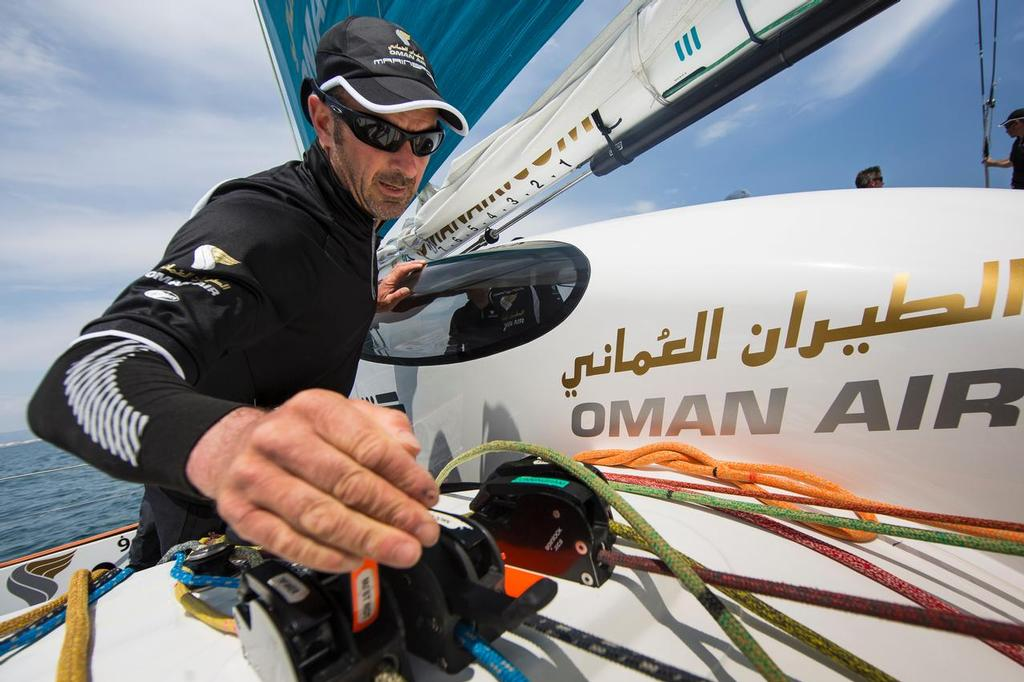 Oman Air MOD70 - Musandam. <br /> Pictures of Damian Foxall (IRL) training onboard  &copy; Lloyd Images