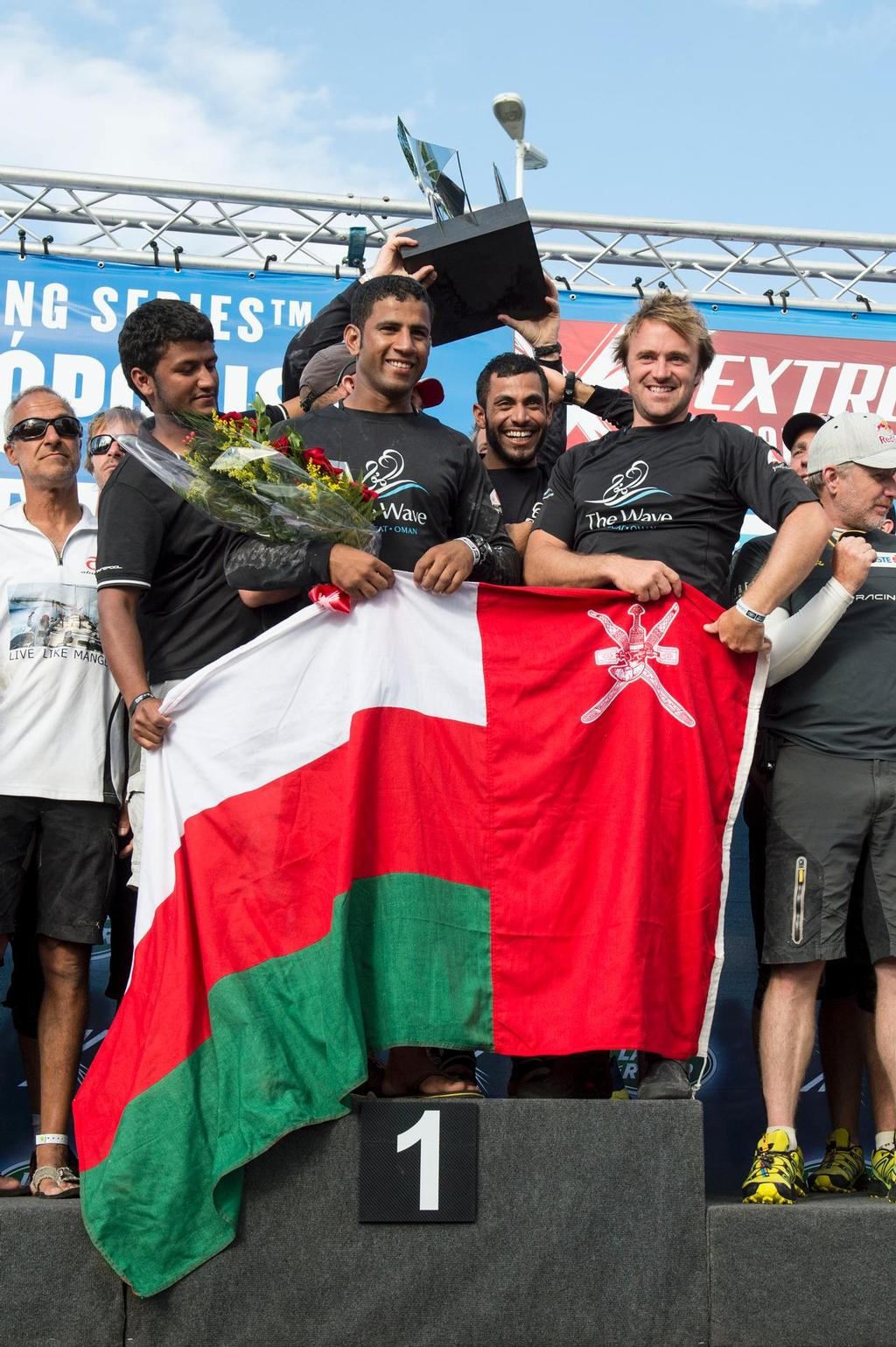 Extreme Sailing Series Act 8 - The Wave Muscat skippered by Leigh McMillan (GBR), mainsail trimmer Pete Greenhalgh (GBR), headsail trimmer Musab Al Hadi (OMA), tactician Ed Smyth (NZL) and bowman Hashim Al Rashdi (OMA)<br /> Winner &copy;  Vincent Curutchet / Lloyd images / OC http://www.lloydimages.com/