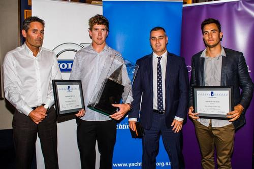 Pictured above from left: Sir Russell Coutts, Peter Burling, Brendan Drury (sponsor House of Travel) and Blair Tuke - 2013 New Zealand Sailor of the Year © Yachting NZ