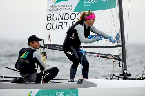 Darren Bundock and Nina Curtis (AUS) competing in the first day of racing in the Nacra17 event at the ISAF world Sailing Cup Melbourne  © Jeff Crow/Sail Melbourne http://www.sportlibrary.com.au
