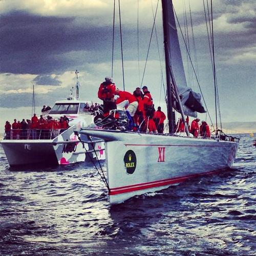 Wild Oats soon after finishing the 69th Rolex Sydney Hobart Race Image: RSHYR © SW
