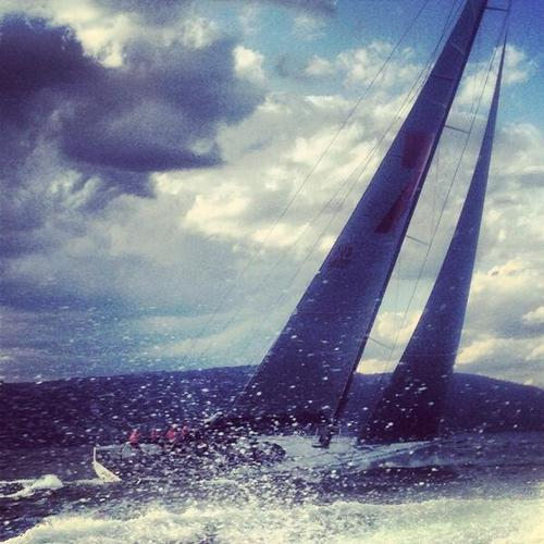 Wild Oats XI heading up the last few miles to the finish - Image RSHYR Media © SW