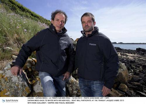 Marc Guillemot and skipper and Pascal Bidegorry ©  Jean-Marie Liot / DPPI / TJV http://www.transat-jacques-vabre.com/