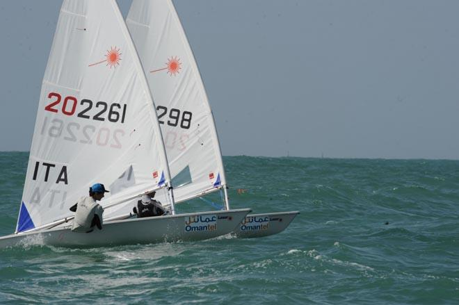 Italian Gianfranco Planchestainer retains lead on day 2 of the 2013 Laser Radial Youth World Championships ©  Munther Al Zadjali http://omanlaserworlds2013.com/