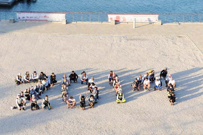 Sailors shape 2014 in celebration of the New Year ©  Munther Al Zadjali http://omanlaserworlds2013.com/