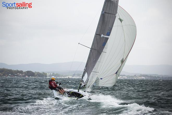 Rock Hard under gennaker  - VX One Championships in Lake Macquarie 2014 © Beth Morley - Sport Sailing Photography http://www.sportsailingphotography.com