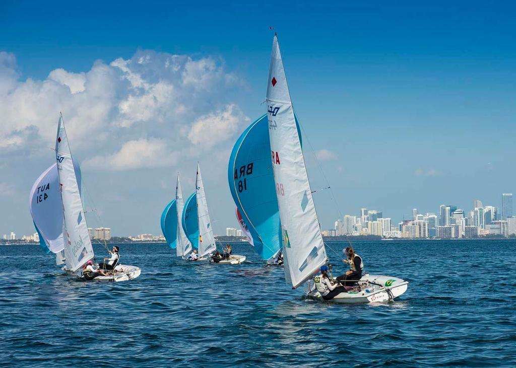 ISAF Sailing World Cup Miami 2014 - Day 1 Women's 470 © Walter Cooper /US Sailing http://ussailing.org/