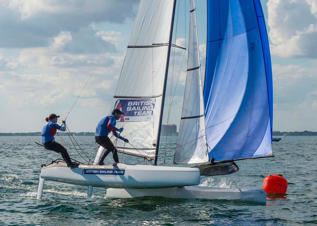ISAF Sailing World Cup Miami 2014 - Day 1 Nacra 17 © Walter Cooper /US Sailing http://ussailing.org/