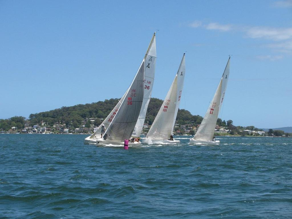 Approaching a mark closely together on picturesque Brisbane Water. - Adams 10 National Championships © Mo Goodship