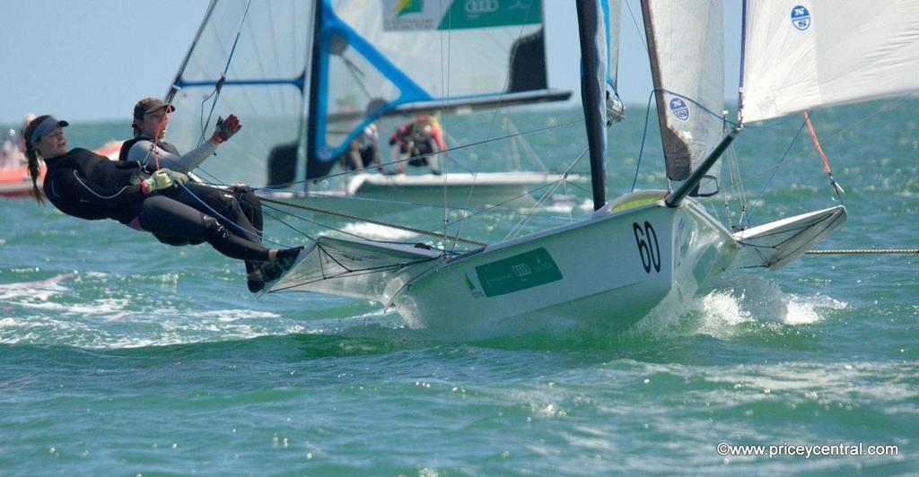 Olivia Price & Eliza Solly (NSW/VIC) are leading the FX fleet after two days - Zhik 2013-14 Australian 9er Championships © David Price