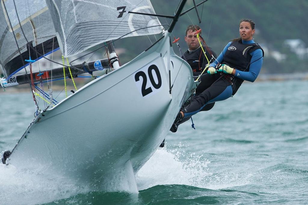 Matt Stevens and Emma Berry (NZL) 12ft Skiff Interdominions, Day 4, Worser Bay, Wellington, NZ © Garrick Cameron http://www.studio5.co.nz/